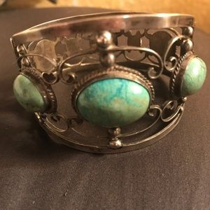 Jewelry - Sterling silver & natural turquoise cuff bracelet